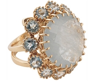 Golden Ring with Stone and Diamond bezel